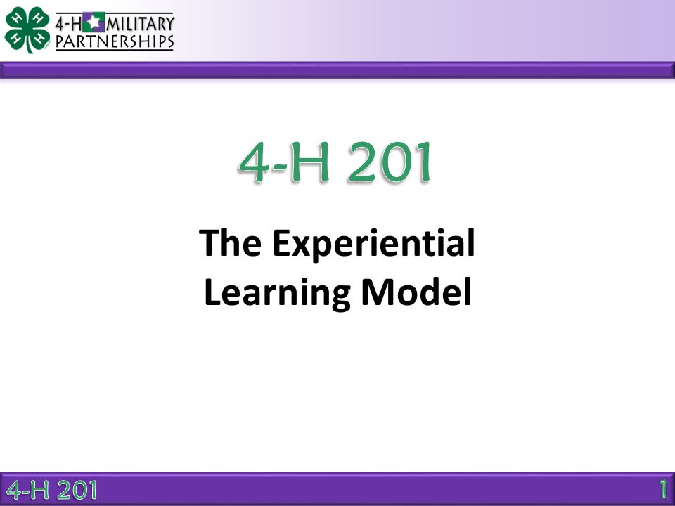 The Experiential Learning Model Experiential Learning Model Experience Share Process Generalize Apply Sample questions for robotics activity: How can you use what you learned about working with a computer program.