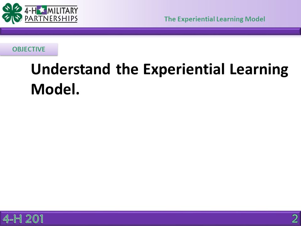 The Experiential Learning Model Keep these steps in mind as you plan learning experiences for youth.