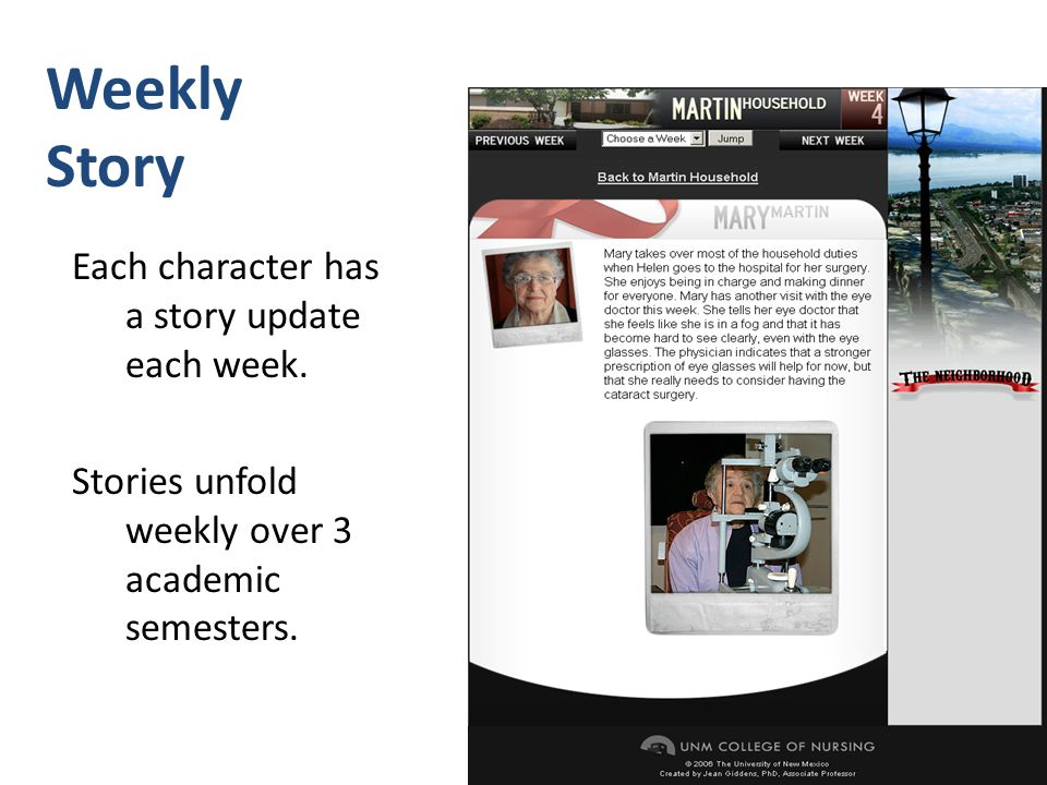 Weekly Story Each character has a story update each week. Stories unfold weekly over 3 academic semesters.