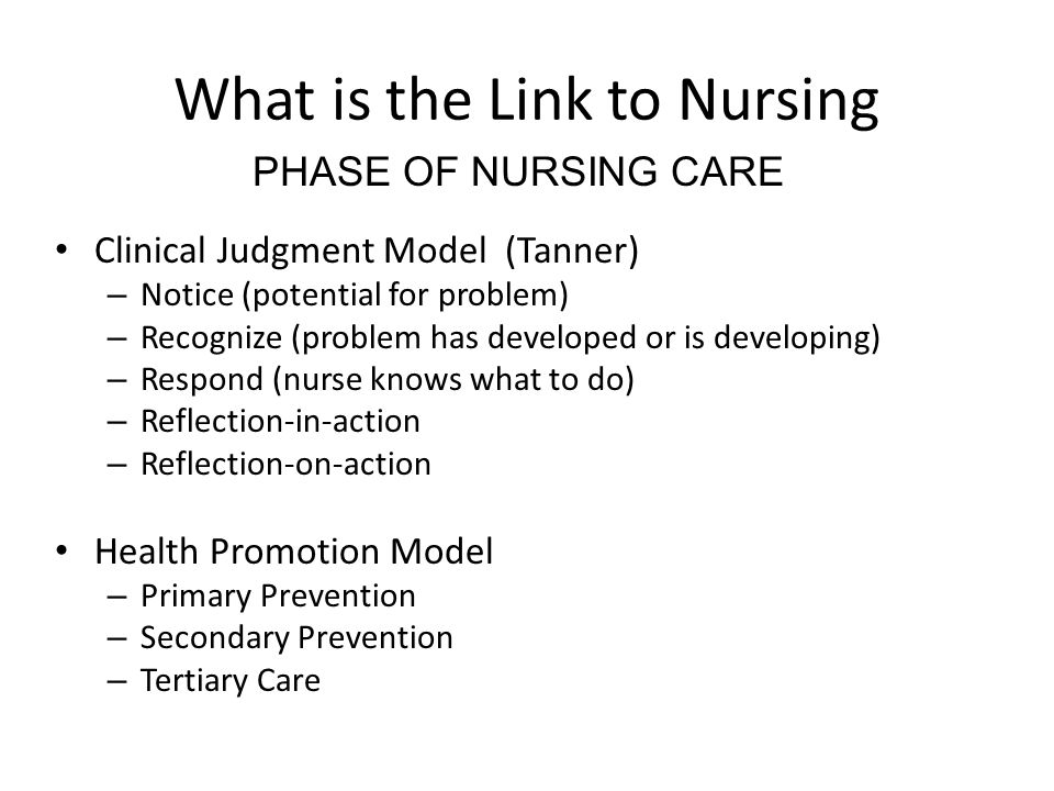 What is the Link to Nursing Clinical Judgment Model (Tanner) – Notice (potential for problem) – Recognize (problem has developed or is developing) – R