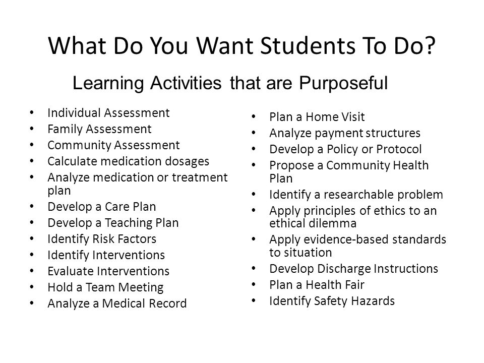 What Do You Want Students To Do? Individual Assessment Family Assessment Community Assessment Calculate medication dosages Analyze medication or treat