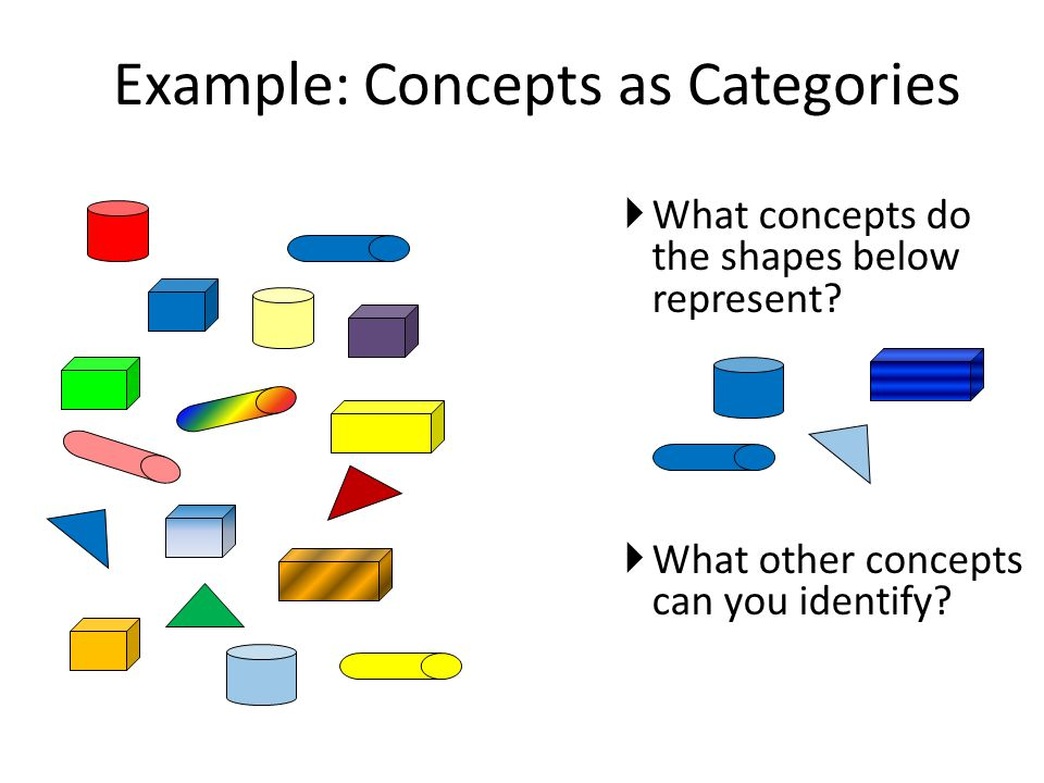 Example: Concepts as Categories  What concepts do the shapes below represent?  What other concepts can you identify?