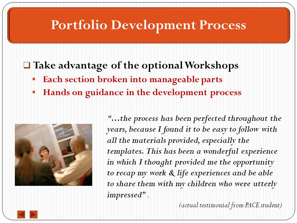  Take advantage of the optional Workshops  Each section broken into manageable parts  Hands on guidance in the development process Portfolio Development Process …the process has been perfected throughout the years, because I found it to be easy to follow with all the materials provided, especially the templates.