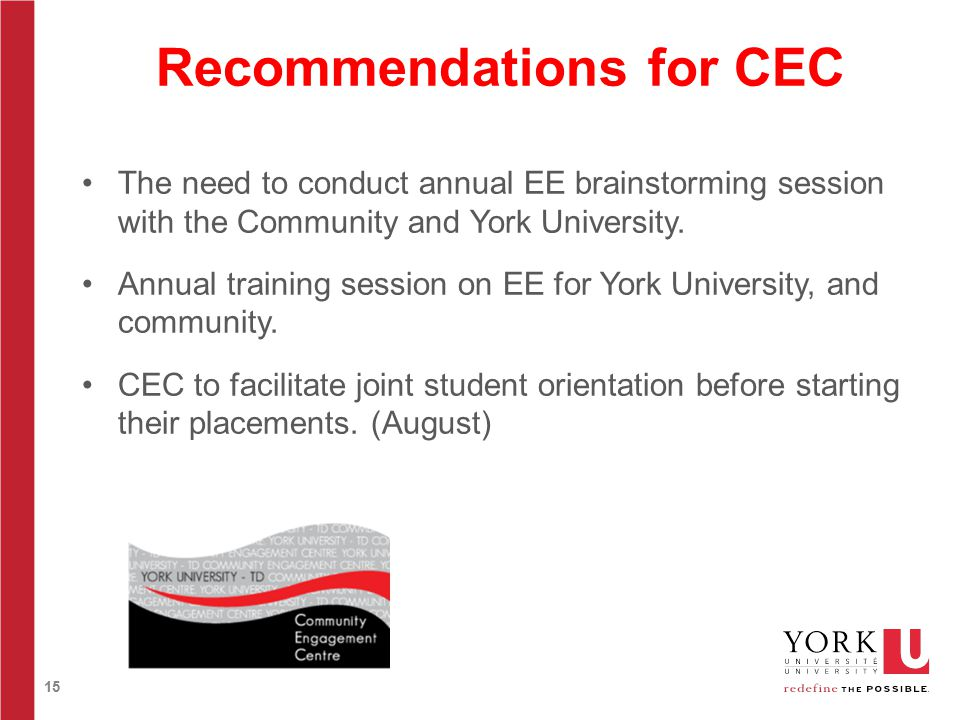 15 Recommendations for CEC The need to conduct annual EE brainstorming session with the Community and York University.