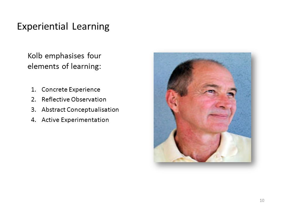 BSB124 Working in Business Experiential Learning Kolb emphasises four elements of learning: 1.Concrete Experience 2.Reflective Observation 3.Abstract Conceptualisation 4.Active Experimentation 10