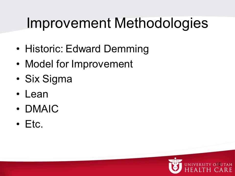 Improvement Methodologies Historic: Edward Demming Model for Improvement Six Sigma Lean DMAIC Etc. 10