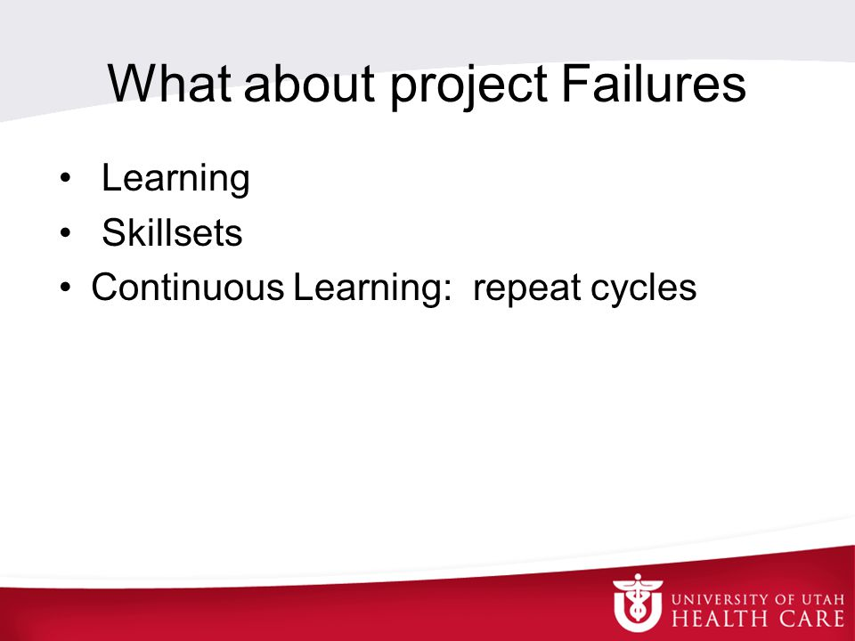 What about project Failures Learning Skillsets Continuous Learning: repeat cycles