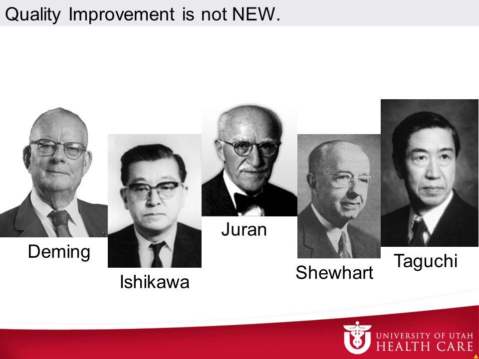 Taguchi Shewhart Deming Juran Ishikawa Quality Improvement is not NEW.