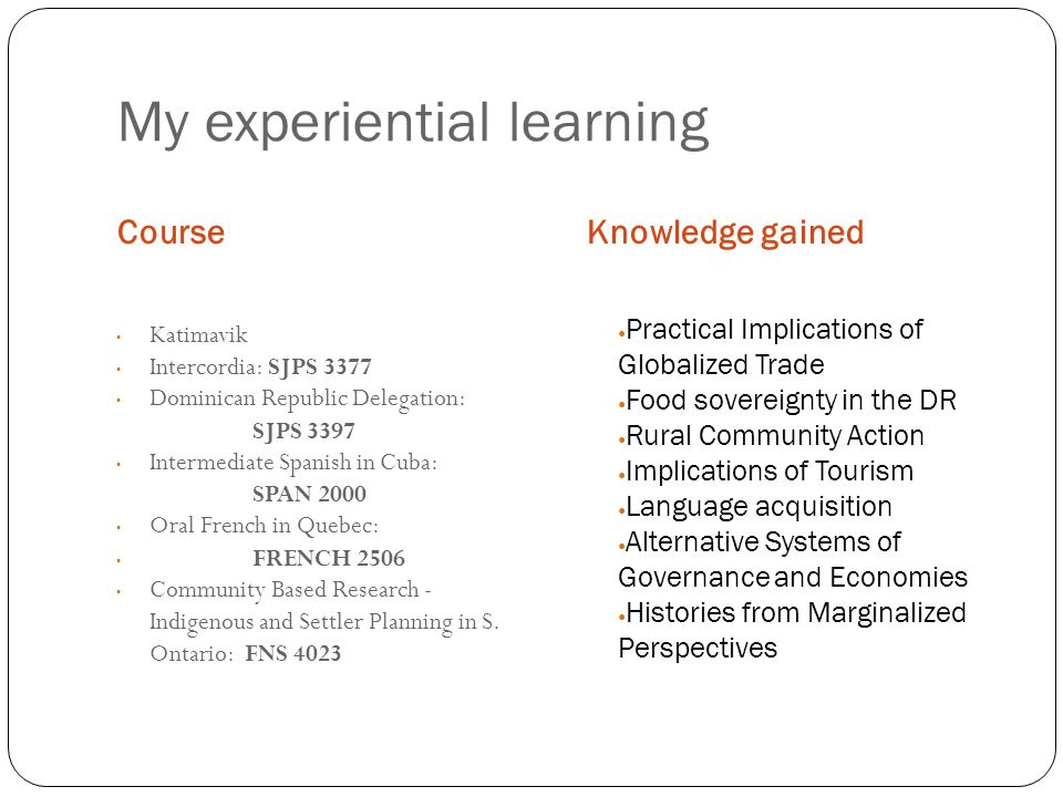 My experiential learning CourseKnowledge gained Katimavik Intercordia: SJPS 3377 Dominican Republic Delegation: SJPS 3397 Intermediate Spanish in Cuba: SPAN 2000 Oral French in Quebec: FRENCH 2506 Community Based Research - Indigenous and Settler Planning in S.