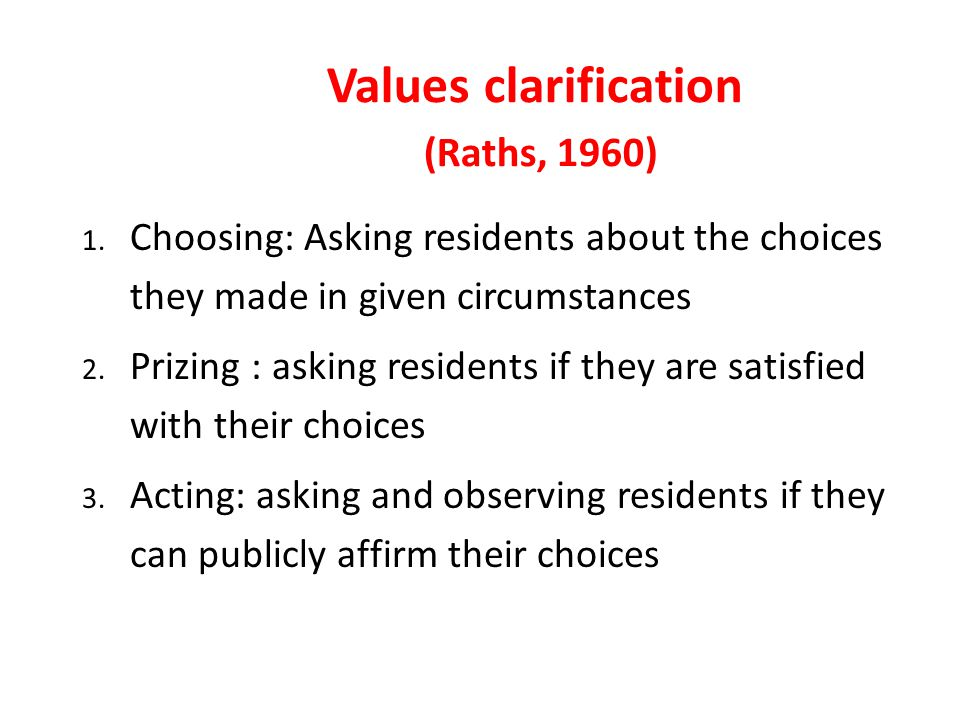 Values clarification (Raths, 1960) 1.