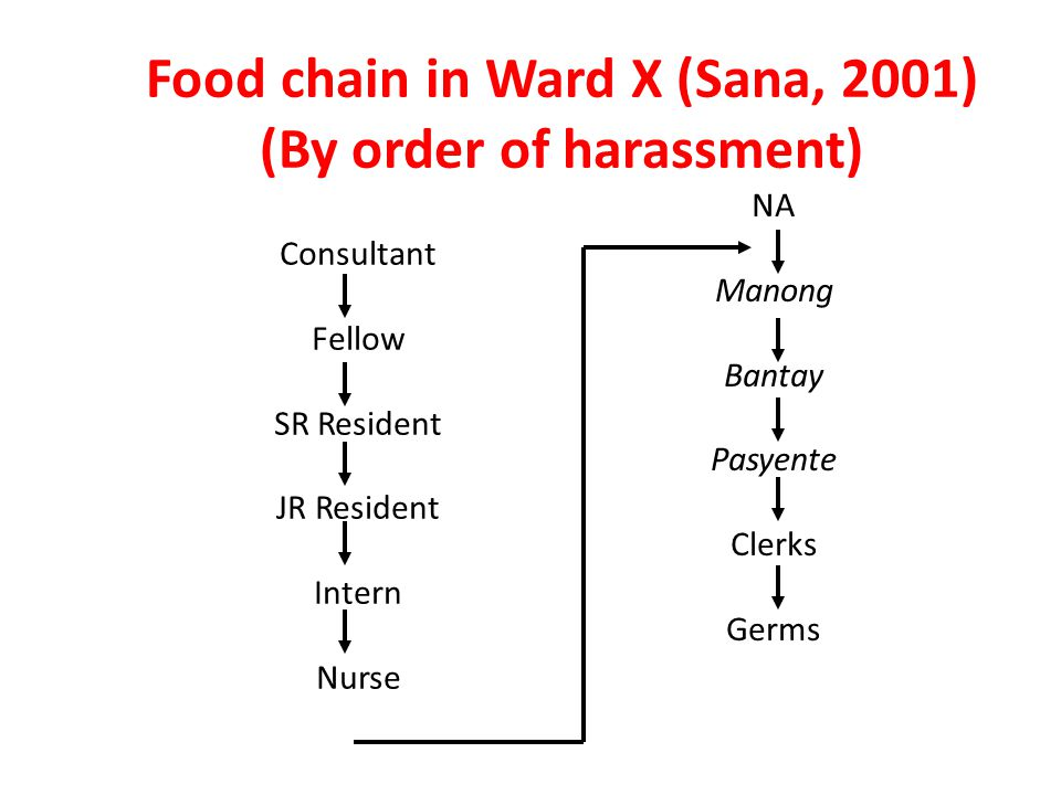 Food chain in Ward X (Sana, 2001) (By order of harassment) Consultant Fellow SR Resident JR Resident Intern Nurse NA Manong Bantay Pasyente Clerks Germs