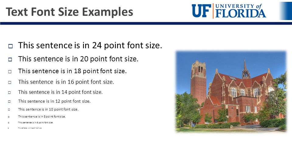 Text Font Size Examples  This sentence is in 24 point font size.