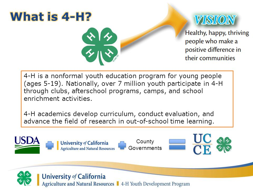 County Governments 4-H is a nonformal youth education program for young people (ages 5-19).