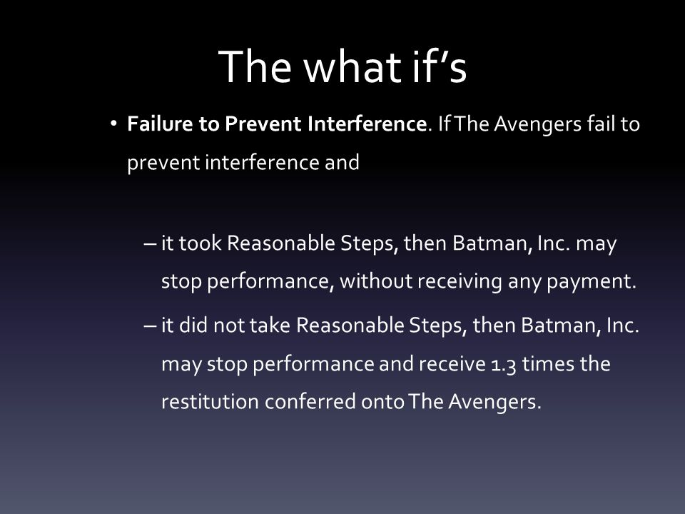 The what if's Failure to Prevent Interference.