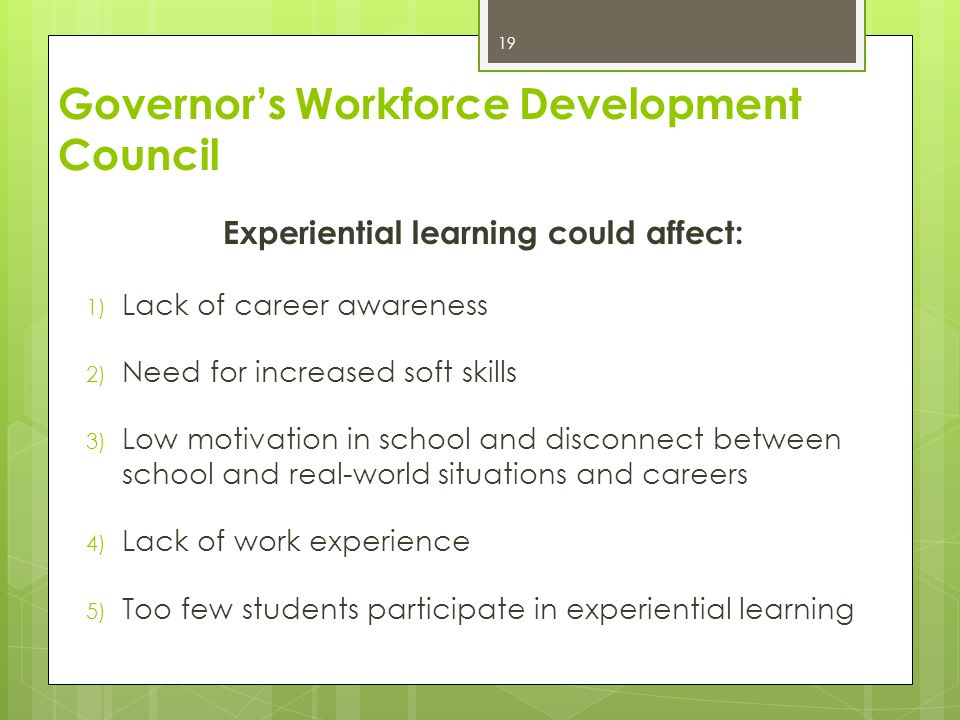 Experiential learning could affect: 1) Lack of career awareness 2) Need for increased soft skills 3) Low motivation in school and disconnect between s