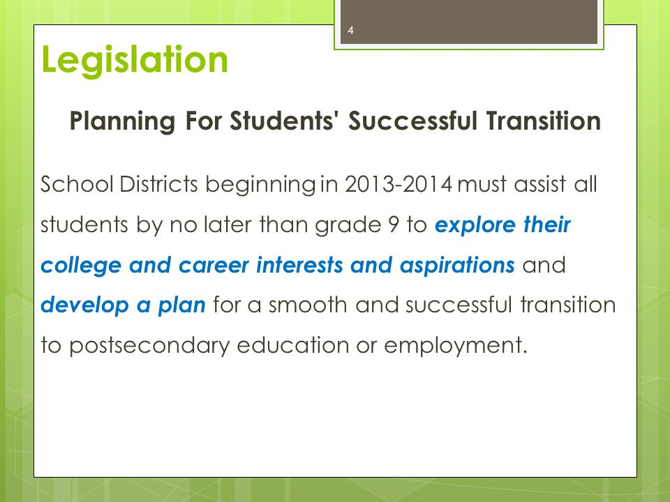 Planning For Students' Successful Transition School Districts beginning in 2013-2014 must assist all students by no later than grade 9 to explore thei