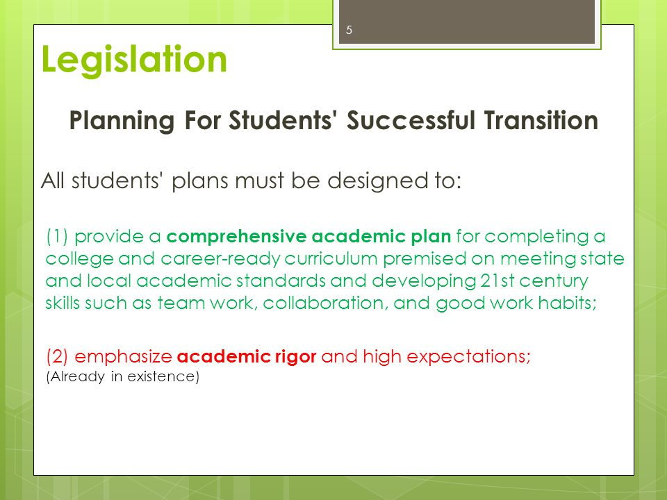 Planning For Students Successful Transition All students plans must be designed to: (1) provide a comprehensive academic plan for completing a college and career-ready curriculum premised on meeting state and local academic standards and developing 21st century skills such as team work, collaboration, and good work habits; (2) emphasize academic rigor and high expectations; (Already in existence) 5 Legislation