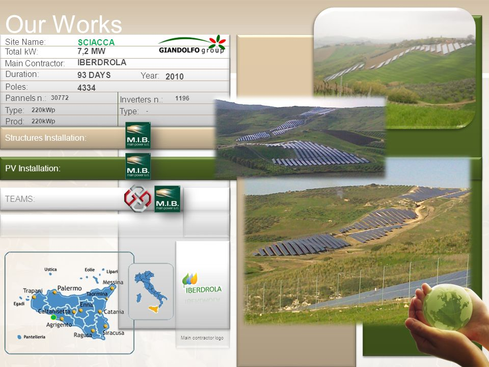 Site Name: SCIACCA Total kW: 7,2 MW Main Contractor: IBERDROLA Duration: 93 DAYS Structures Installation: PV Installation: TEAMS: Poles: 4334 Pannels n.: 30772 Inverters n.: 1196 Type: - 220kWp Prod: 220kWp Year: 2010 Main contractor logo Our Works
