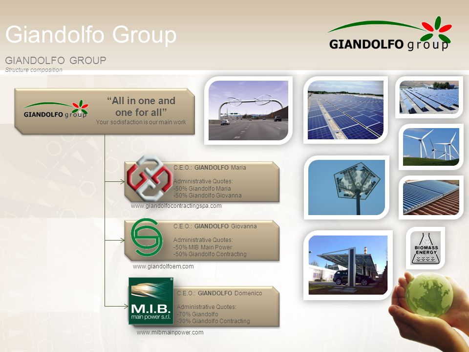 Giandolfo Group GIANDOLFO GROUP Structure composition www.giandolfocontractingspa.com www.giandolfoem.com www.mibmainpower.com C.E.O.: GIANDOLFO Maria Administrative Quotes: -50% Giandolfo Maria -50% Giandolfo Giovanna C.E.O.: GIANDOLFO Giovanna Administrative Quotes: -50% MIB Main Power -50% Giandolfo Contracting C.E.O.: GIANDOLFO Domenico Administrative Quotes: -70% Giandolfo -30% Giandolfo Contracting All in one and one for all Your sodisfaction is our main work