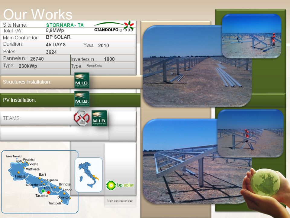 Our Works Site Name: STORNARA - TA Total kW: 5,9MWp Main Contractor: BP SOLAR Duration: 45 DAYS Structures Installation: PV Installation: Poles: 3624 Pannels n.: 25740 Inverters n.:1000 Type: ReneSola Type: 230kWp Year: 2010 TEAMS: Main contractor logo
