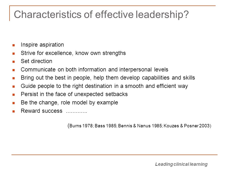 Characteristics of effective leadership.