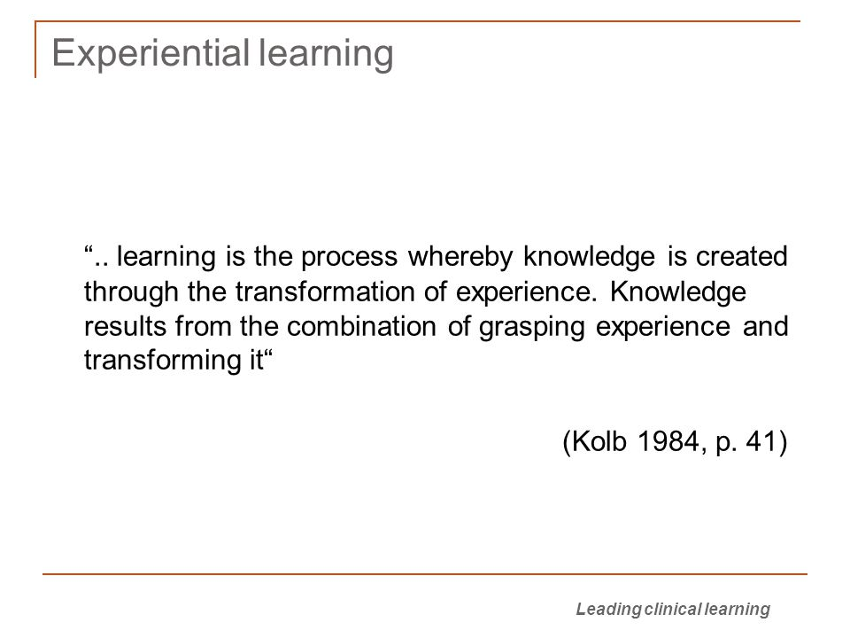 Experiential learning ..