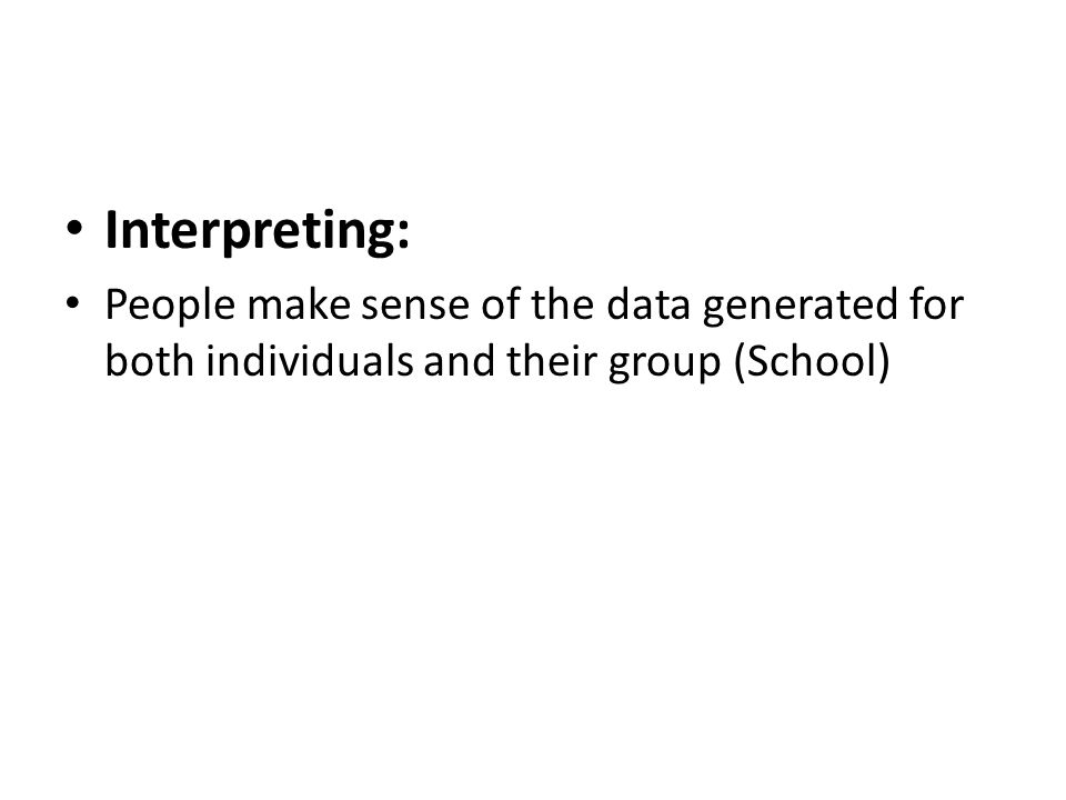 Interpreting: People make sense of the data generated for both individuals and their group (School)
