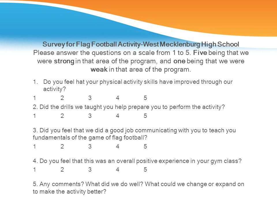 Survey for Flag Football Activity-West Mecklenburg High School Please answer the questions on a scale from 1 to 5. Five being that we were strong in t
