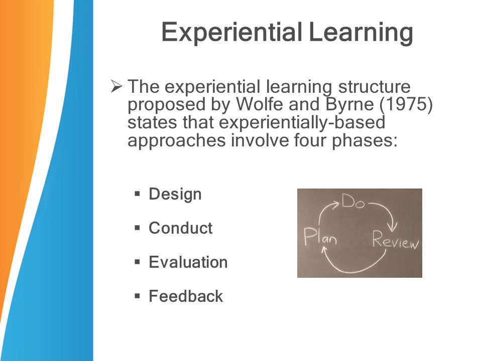 Experiential Learning  The experiential learning structure proposed by Wolfe and Byrne (1975) states that experientially-based approaches involve fou