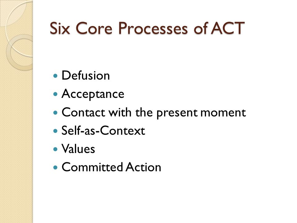 Six Core Processes of ACT Defusion Acceptance Contact with the present moment Self-as-Context Values Committed Action