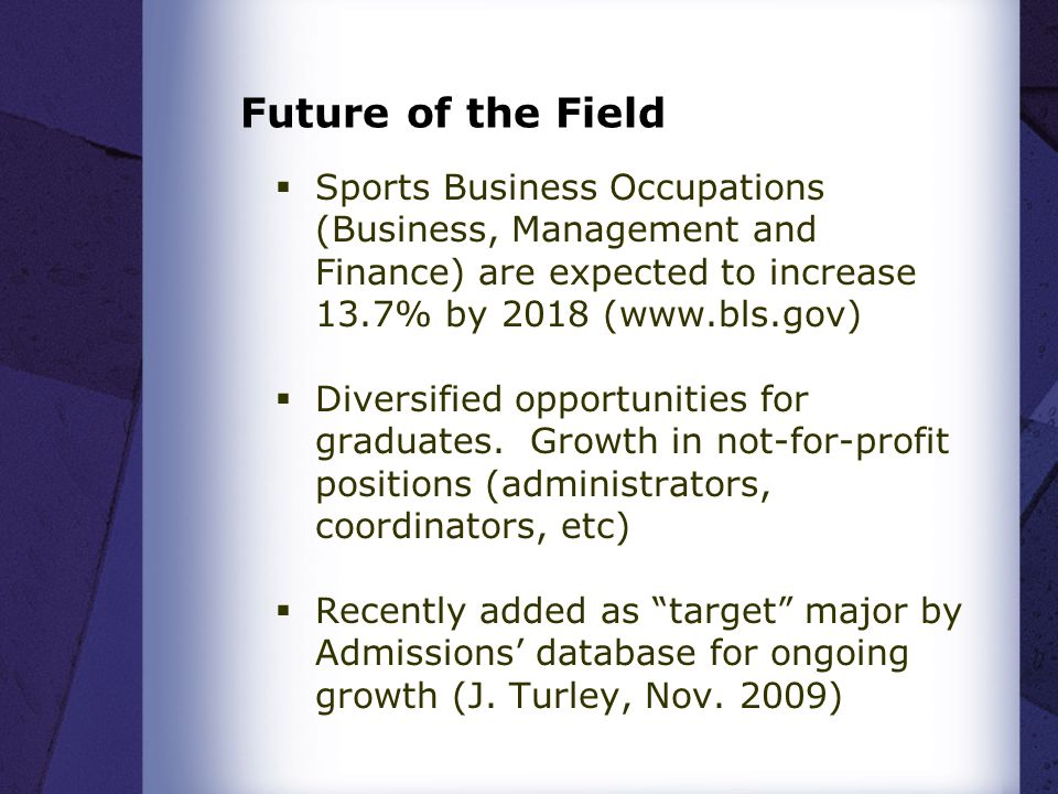 Future of the Field  Sports Business Occupations (Business, Management and Finance) are expected to increase 13.7% by 2018 (www.bls.gov)  Diversified opportunities for graduates.