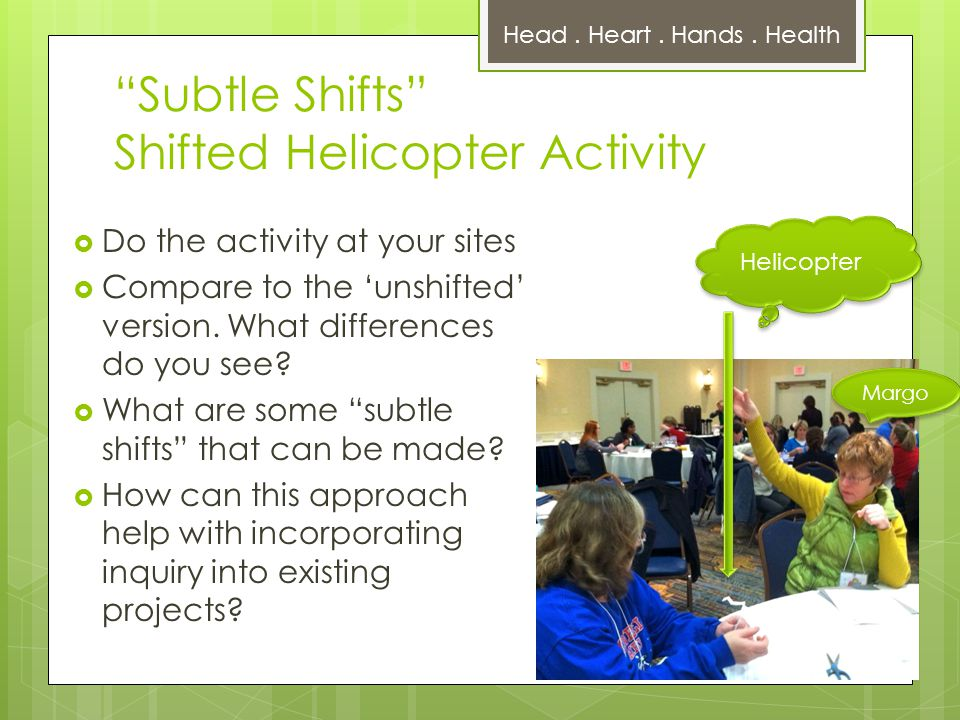 Subtle Shifts Shifted Helicopter Activity  Do the activity at your sites  Compare to the 'unshifted' version.
