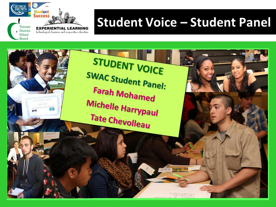 Student Voice – Student Panel STUDENT VOICE SWAC Student Panel: Farah Mohamed Michelle Harrypaul Tate Chevolleau STUDENT VOICE SWAC Student Panel: Far