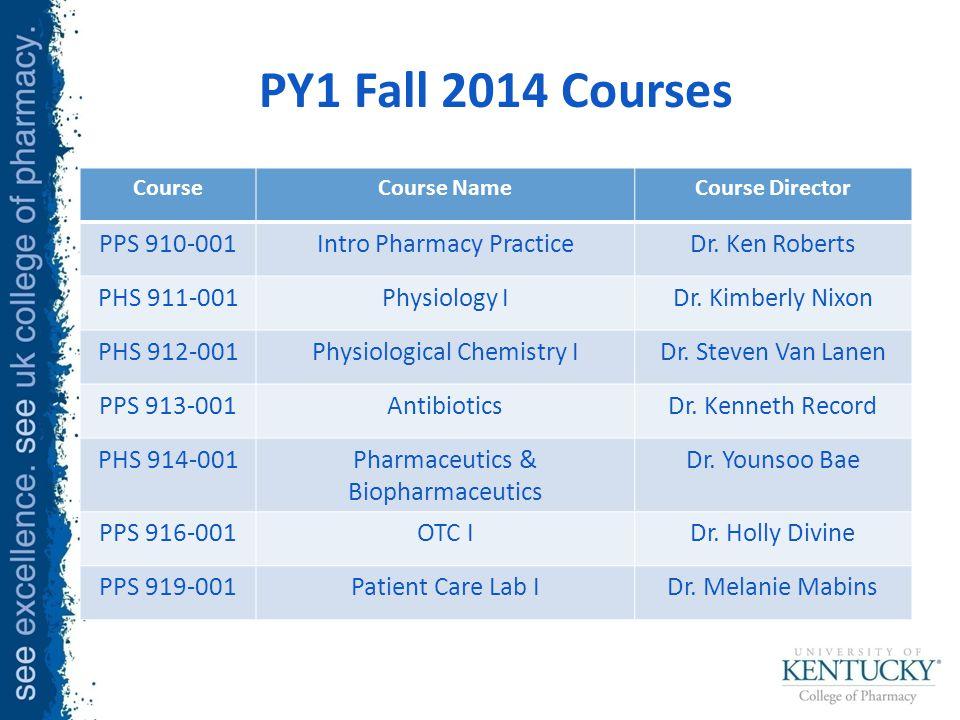 PY1 Fall 2014 Courses CourseCourse NameCourse Director PPS 910-001Intro Pharmacy PracticeDr.