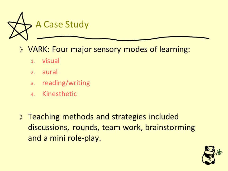A Case Study 》 VARK: Four major sensory modes of learning: 1.