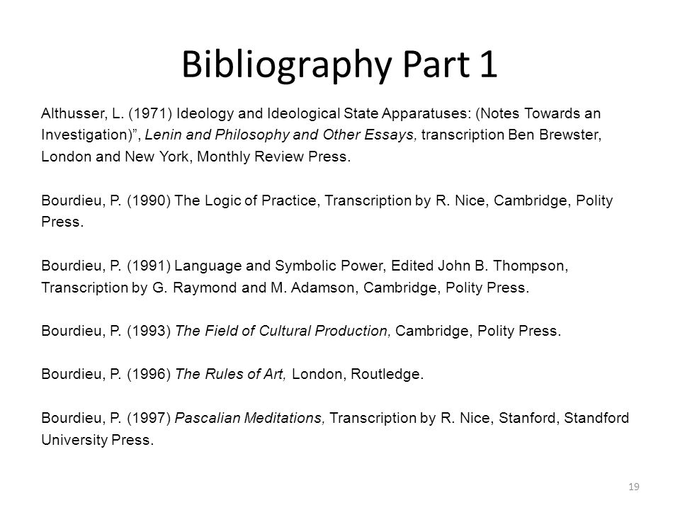 Bibliography Part 1 Althusser, L.