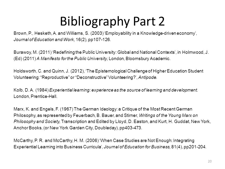 Bibliography Part 2 Brown, P., Hesketh, A. and Williams, S.