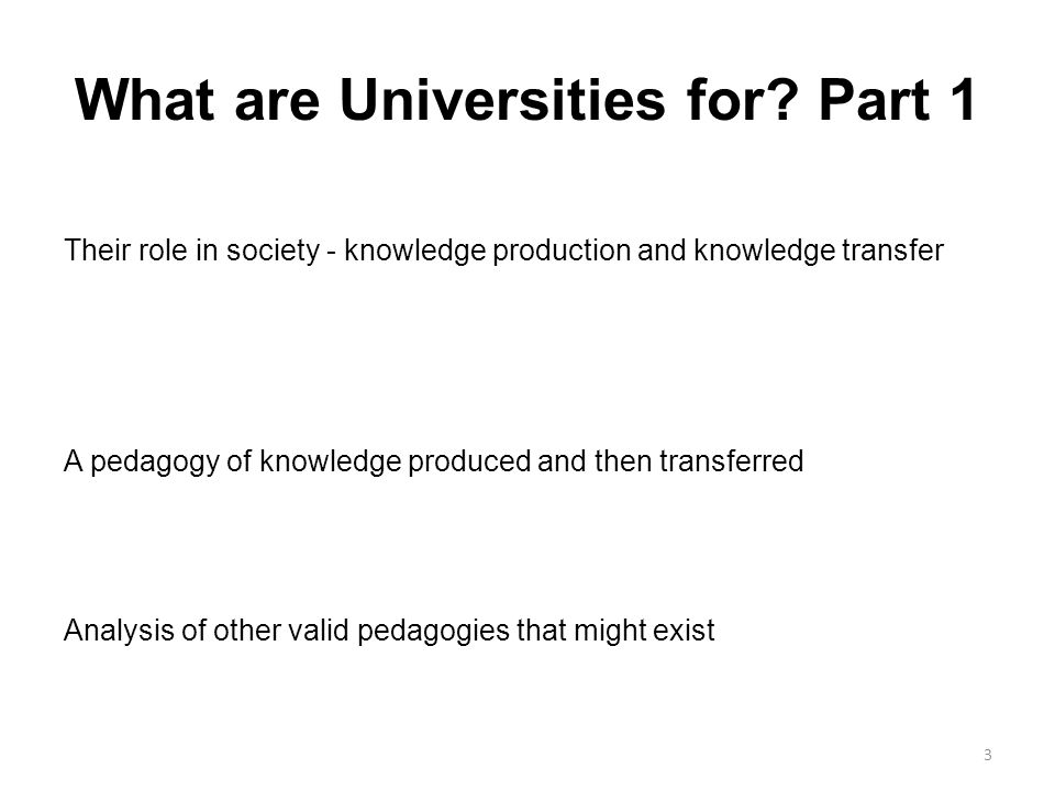 What are Universities for.