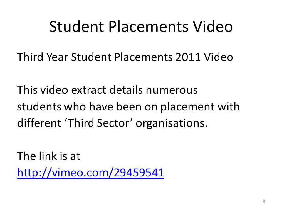Student Placements Video Third Year Student Placements 2011 Video This video extract details numerous students who have been on placement with different 'Third Sector' organisations.