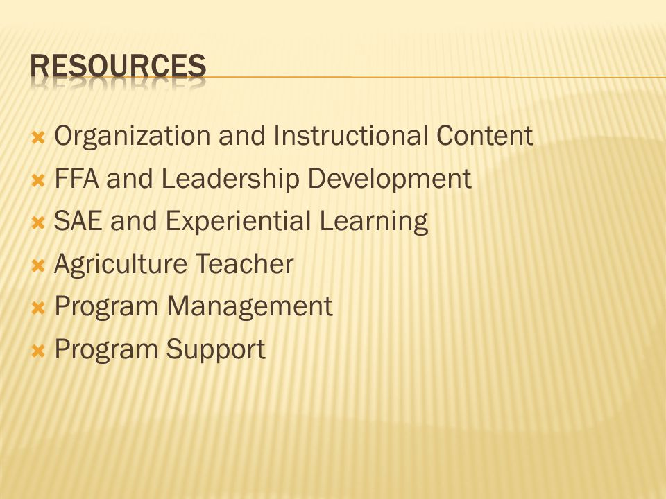  Organization and Instructional Content  FFA and Leadership Development  SAE and Experiential Learning  Agriculture Teacher  Program Management  Program Support