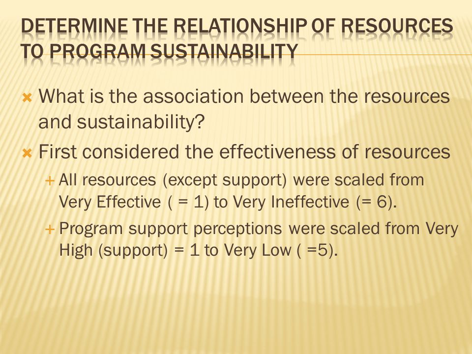  What is the association between the resources and sustainability?  First considered the effectiveness of resources  All resources (except support)