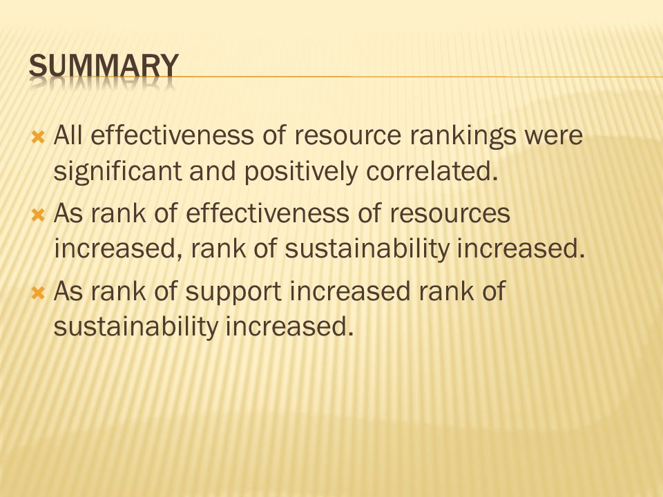  All effectiveness of resource rankings were significant and positively correlated.  As rank of effectiveness of resources increased, rank of sustai