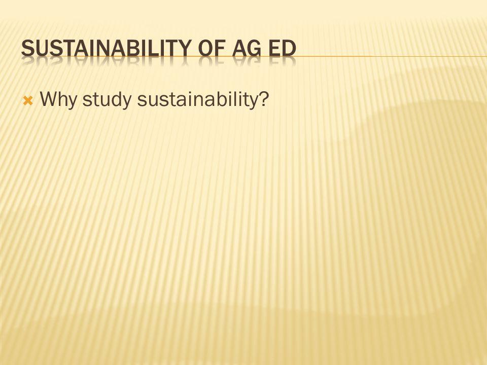  Why study sustainability?