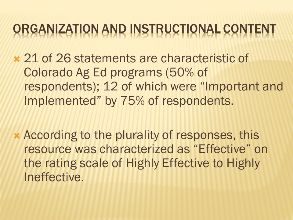  21 of 26 statements are characteristic of Colorado Ag Ed programs (50% of respondents); 12 of which were Important and Implemented by 75% of respondents.
