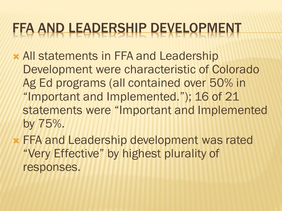 """ All statements in FFA and Leadership Development were characteristic of Colorado Ag Ed programs (all contained over 50% in """"Important and Implemente"""