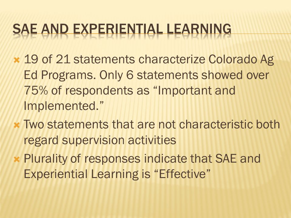 """ 19 of 21 statements characterize Colorado Ag Ed Programs. Only 6 statements showed over 75% of respondents as """"Important and Implemented.""""  Two sta"""