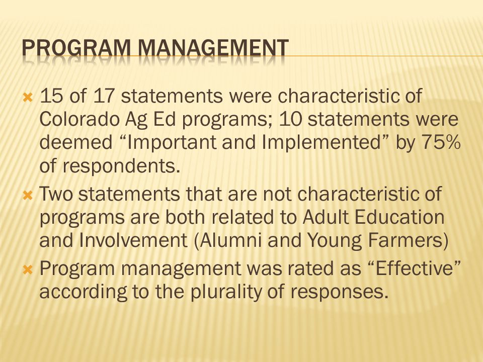  15 of 17 statements were characteristic of Colorado Ag Ed programs; 10 statements were deemed Important and Implemented by 75% of respondents.