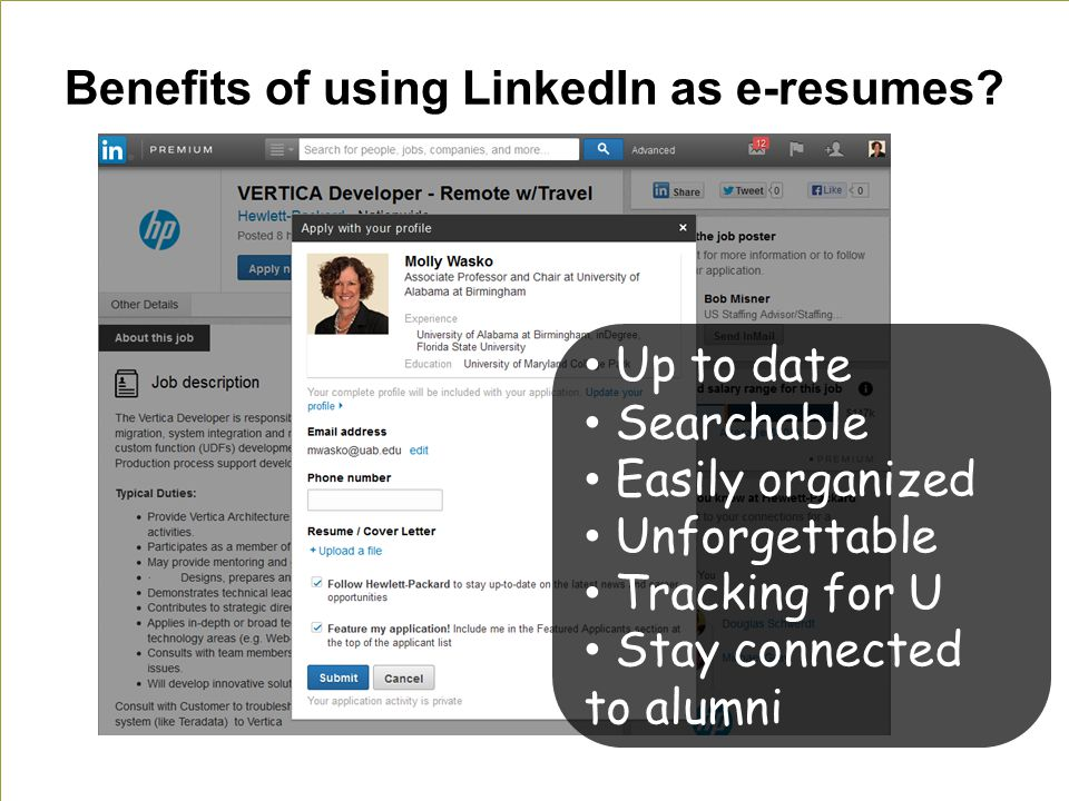 Benefits of using LinkedIn as e-resumes.