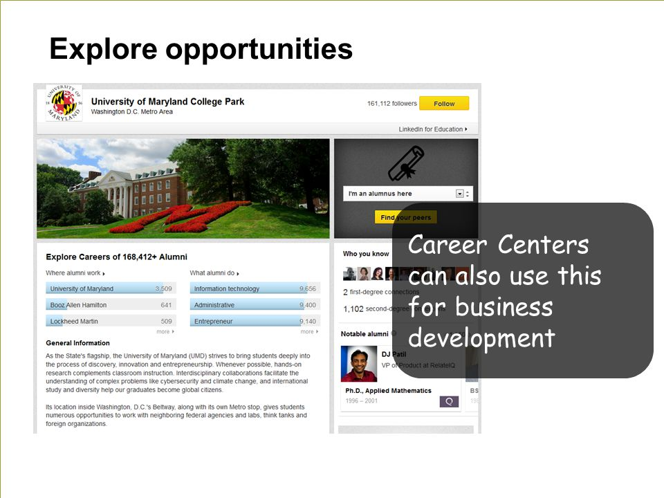 Explore opportunities Career Centers can also use this for business development
