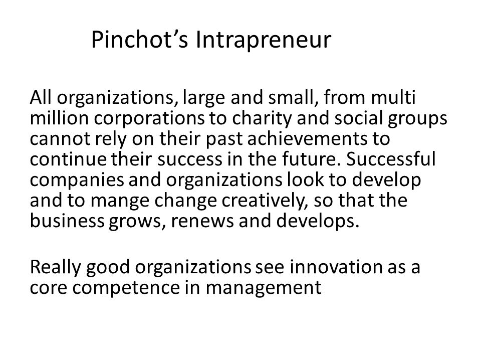 Pinchot's Intrapreneur All organizations, large and small, from multi million corporations to charity and social groups cannot rely on their past achievements to continue their success in the future.